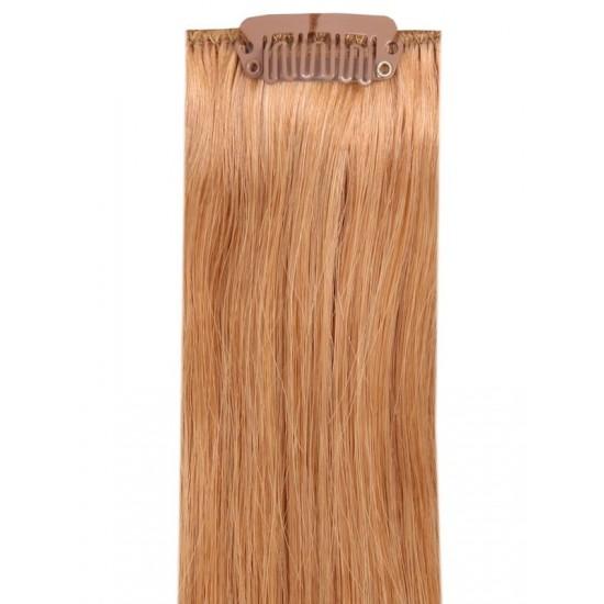 Коса на клипси - златно кестенява №14