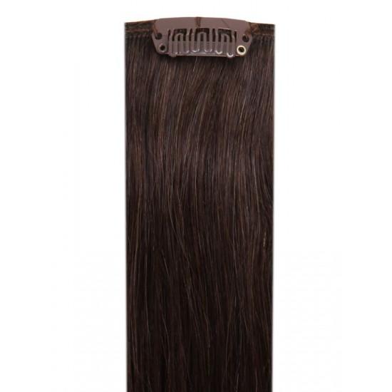 Коса на клипси - Натурално кестенява №02