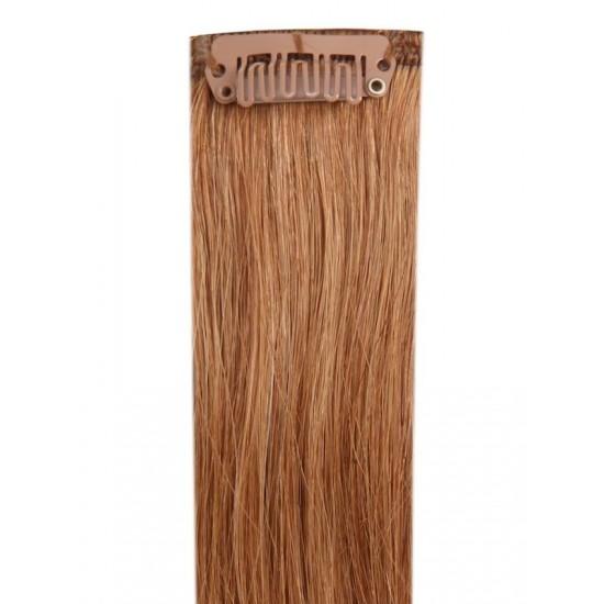 Коса на клипси - светло кестенява №08