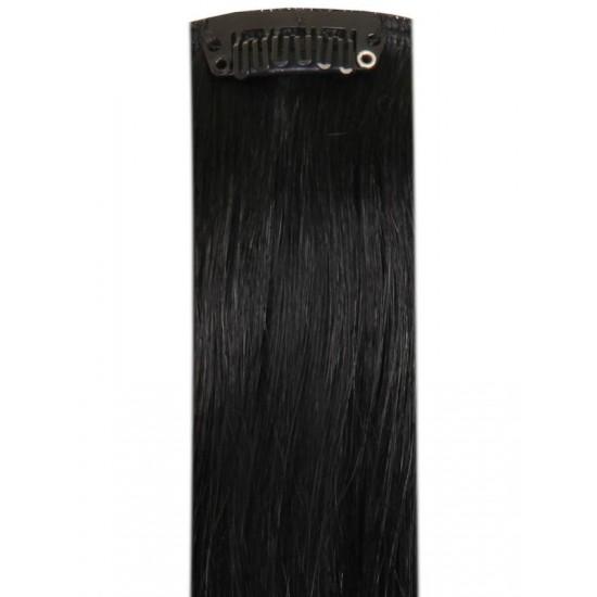Коса на клипси - Черна №01