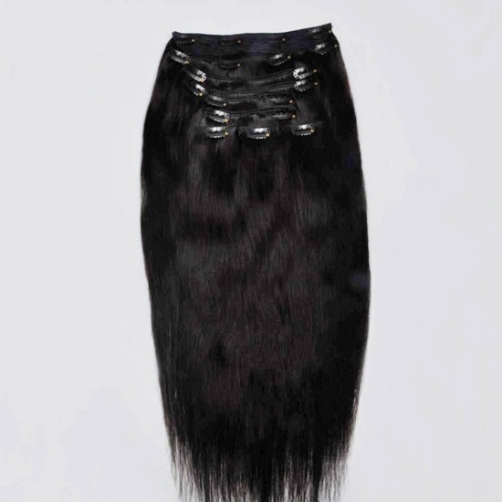 Коса на клипси - Натурално черна №1b
